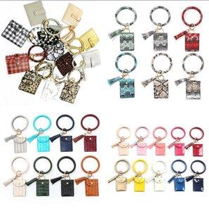 Armband Keychain Mappen-Leopard-Schlange PU-Leder-Troddel-Frauen-Karten-Beutel-Frauen-Hand Wristlet Schlüsselanhänger Mädchen Wallets OOA8090
