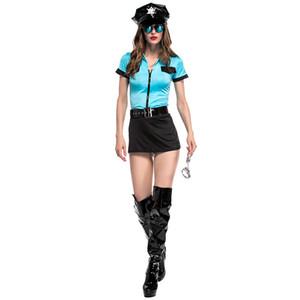Cop Cosplay Fantasias Mulher Sexy Azul Curto Top Saia Preta Definir Halloween Trajes Cosplay Mulher Sexy Lingerie 5 PCS Set