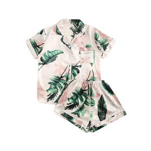 SHEIN Tropical Print Satin Pajama Set Casual Sleep Wear Shorts Sets Short Sleeve Pocket Women Summer Pajama Set CX200606