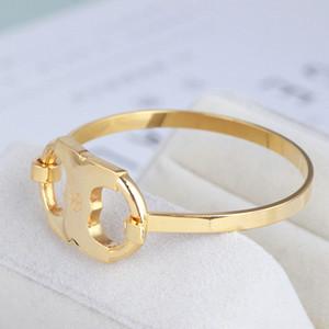 Бесплатная доставка бренд горячие продажи настоящее золото покрытием Leater браслеты браслет манжеты письмо мода для женщин для девочек
