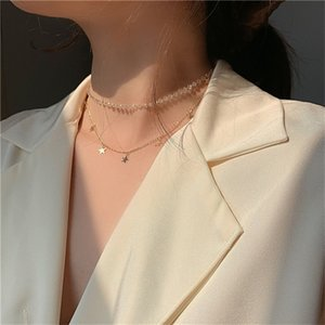 2020 Kpop Chic Double Layer Chain Fashion Crystal Choker Cute Romantic Women's Gold Stars Pendant Necklace Egirl Jewelry Collar