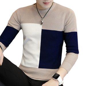 LEFT ROM 2019 الخريف الرجال عادية البلوز O-الرقبة صالح سليم Knittwear الرجال اللون مطابقة البلوزات البلوفرات البلوز قمصان متماسكة