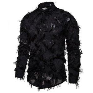Shirt dos homens Eillysevens Handmade Tecido Feather tridimensional Características Henry Collar longo da luva # g3