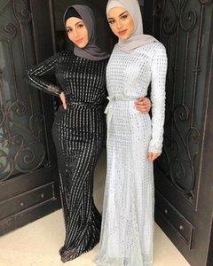 2020 Abaya Dubai musulmana vestido de lujo de alta clase de la manera sequined rayas de encaje Ramadán Kaftan Islam mujeres turcas Kimono