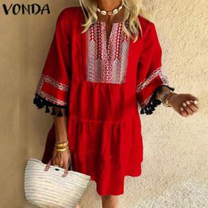 Robe d'été Femmes Imprimé Sundress VONDA 2020 Femme Patchwork Prnted Parti Bohème Mini Robe Plus Size Vestido