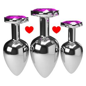 3pcs Set Multicolor Smooth Massager Anal Beads Crystal Jewelry Heart Butt Plug Stimulator Women Sex Toys Dildo Metal Anal Plug T200629