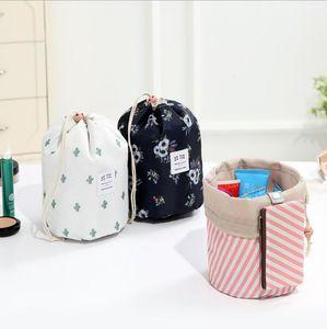 Le donne sacchetto di trucco a forma di botte sacchetti cosmetici Cactus fenicottero Fiore stampa con coulisse sacchetto di corsa toilette Borse 9 colori LXL605-1