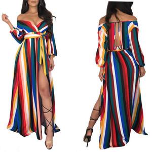 Korean Kleid Kleidung Boho Kleider Chic Beach Wear Womens Long Maxi böhmischer Art-Bodycon Farben-Streifen druckte reizvoller fester