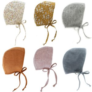 Newborn Baby Hat Floral Vintage Aviator Photography Linen Strap Cotton Beanie Boys Girls Props Cap Spring Kids Bonnet Hat 0-36M