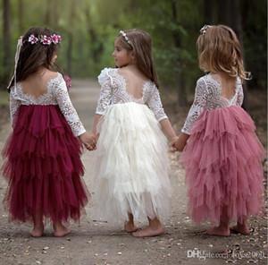 Verão Princesa Backless oco Lace Crianças Tutu vestidos da menina de flores para festa de casamento Europa e América roupa dos miúdos