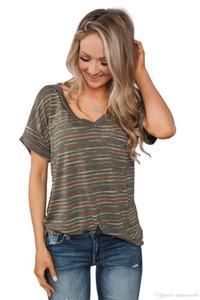 ملابس فتاة ديب الخامس عنق مخطط المطبوعة قصيرة الأكمام الصيف مصمم القميص وبالنسبة للأنثى إمرأة الصيف تي شيرت