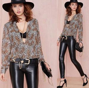 de Sexy Loose Women Chiffon Tops camisa de manga longa Casual Leopard Blusa