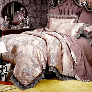 Luxury satin jacquard bedding set queen king size bed set gold silver color 4pcs cotton silk lace duvet cover sets bedsheet set T200706