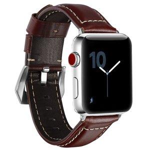 Designer de luxe d'Apple Bracelets montres bracelets intelligents sangles 38/40 / 42 / 44mm modèle Crazy Horse montre en cuir Ceinture Remplacements iWatch Series4321