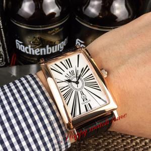 Version haute Long Island 1200 CH Blanc date Cadran en or rose boîtier en acier inoxydable Japon VK Quartz Chronographe Mens Watch bracelet en cuir