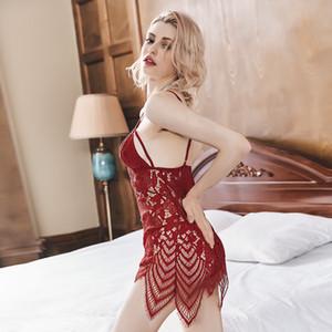 Çiçek Dantel Seksi Lingerie Erotik Sıcak Babydoll Elbise Kadınlar Mini Nighty Seks Kostüm Porno İç Egzotik Giyim Gecelik Set