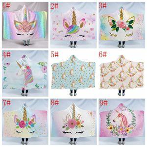 unicorno Mantello Coperte 3D caldo inverno fumetto stampato Sherpa Fleece Hooded Blanket bambini peluche Carpet Mat Tappeto di Natale 130 * 150cm FFA1323 20p