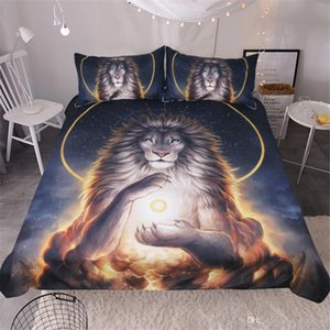 3D designs Lion aura bedding set queen king size reactive printing good fastness cartoon designs tiger leopard linon cat seatacion