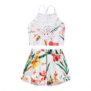 Girls Lace Flower Breces Tops + Shorts Set Estate 2020 Bambini Boutique Abbigliamento 1-5T Bambine Pantaloni floreali senza maniche 2 PC