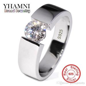 Отправить Серебряный сертификат! YHAMNI 100% Настоящее Чистое 925 Серебряное Кольцо 6 мм SONA CZ Бриллиантовое Обручальное Кольца Ювелирные Изделия Для Мужчин DR10