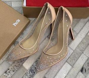 Red Bottom de salto Alto estilo arrastão Rete Pointed Toe Strass Cristal bling Prata bombas de ouro mulheres de Salto Alto sapatos de Festa de casamento