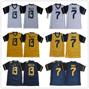 2020 West Virginia Mountaineers WVU # 7 Will Grier 13 David Sills V Bianco Bianco Blu Giallo cucita XII NCAA College Football maglie S-3XL