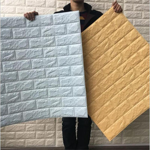 70x77cm PE mousse 3D pierre brique Panneau mural Sticker 39 * 70cm Home Decor Salon Papier peint pour enfants Chambres autoadhésif Bricolage Art Mural