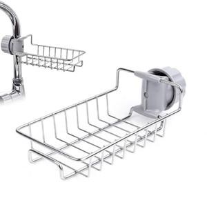 Grifo ajustable de almacenamiento de acero inoxidable estante titular de la esponja de la cocina para el baño Jabón Rag y organizador de la esponja Cestas colgantes