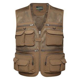 Men's outdoor spring and autumn multi-pocket professional photography vest camera visor mesh vest