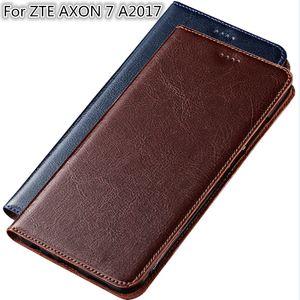 Caja del teléfono de alta calidad para ZTE AXON 7 A2017 Bolso del teléfono del cuero del zurriago genuino con ranura para tarjeta para ZTE AXON 7 Flip Case Kickstand