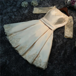 Do Dower 2019 New Satin Champagne Short Evening Dress Elegant Boat Neck Off The Shoulder Lace Up Prom Evening Soiree L