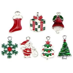 10pcs / lot Merry Christmas Deer Tree Сант Клаус Эмаль Подвеска Подвеска ювелирные изделия способ приспосабливать ожерелье браслета DIY
