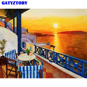 GATYZTORY Frame Diy Painting By Numbers Kit Landscape Coloring By Numbers Wall Art Picture Regalo único para decoraciones para el hogar 40x50cm