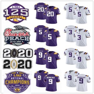2020 Champions LSU Tigers Joe Burrow Burreaux Odell Beckham Jr. Grant Delpit Fournette Derrius Guice Cannon Chase College Football Maillots