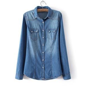 Camicia di jeans delle signore Camicie di jeans Slim Fit Casual Womens Blusas manica lunga Camicetta vintage Camicia da cowboy femminile Abbigliamento primavera J190613