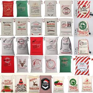 Caliente ! 36 colores de Navidad grande Monogrammable lienzo de Santa Claus con asas con los renos, Monogramable Navidad regalos saco Bolsas 4549