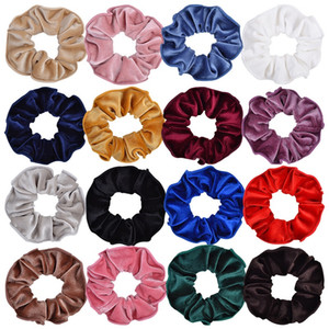 24Pcs Girls Ladies Solid Velvet Scrunchie Elastic Hair Rubber Band Hair Rope Ponytail Holder Headdress Beautiful HuiLin C341