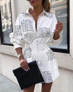 Letra de la impresión atractiva mini vestido camisa corta Mujeres blanco vestido de manga larga parte del club de otoño invierno elegante vestido bodycon Y200102