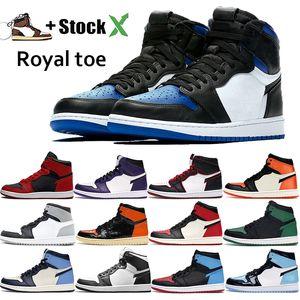 Jordan retro 1 High OG Travis Scotts Jumpman hommes chaussures de basket-ball Toe Black Shadow Top taille d'entraîneur baskets design gris blanc froid sport 40-46