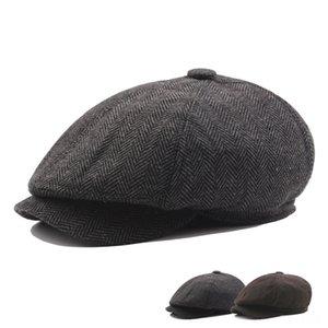 Зимняя шерсть остроконечный Blinder Hat ушанки Newsboy Мужчины Теплый Плюс Бархатные шапки шапки шапки, шарфы Перчатки восьмиугольная Hat Мужской детектив Шляпы Pai