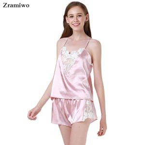 Zramiwo Frauen sexy Nachtwäsche Set Satin-Pyjama-Hosen Set Stickerei Nightgown Spitze-Unterhemd Short Sommer