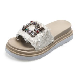 Med Flat Shoes Female Summer Woman Glitter Slides Womens Slippers Outdoor Platform Pantofle Fashion Beach Jelly Soft 2020