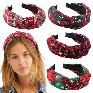 Navidad palillos del pelo de la tela escocesa grande de las muchachas del copo de nieve de la tela escocesa Impreso fiesta de Navidad del aro del pelo del Bowknot de las vendas para los niños Accesorios para el cabello EEA853