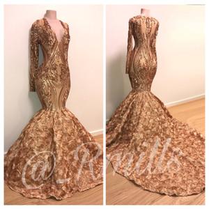 Vestidos de fiesta de graduación de sirena 3D Rose Flowers 2019 Modest Fashion Deep V-neck Sexy Backless Tulle Long Berta Evening Wear Ocasión Dress