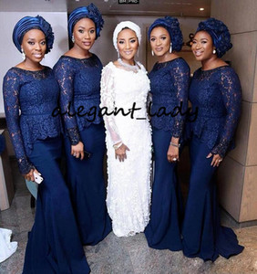 Robes de demoiselle d'honneur bleu marine grande taille avec manches longues 2019 Nigérian Africain Dentelle Peplum Mermaid Mermaid Demoiselle D'honneur Robe De Fête De Mariage