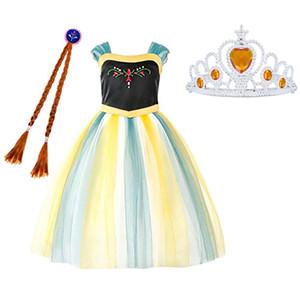 Nueva Snow Queen Princess Kids Niños Disfraces Fiesta de cumpleaños Disfraz de Halloween Cosplay Vestir para niñas 3-12 años WX9-1520
