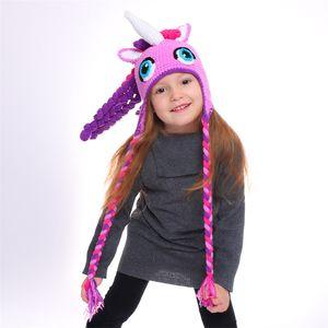 قبعات الأطفال قبعات حك كارتون يونيكورن بنات الطفل دافئا في فصل الشتاء محبوك قوس قزح كاب بيني يونيكورن حلي هات GGA2945-1