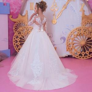Vestidos da menina Pageant Vestidos para casamento do laço Applique do aniversário das meninas Flower Dresss de Jewel Neck Tiered Bola menina vestido
