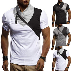 Fake Two Mens Designer Tshirts Panelled Casual Solid Color Short Sleeved High Collar T Shirts Fashion Mens Tees