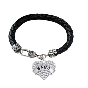 BTT17 Heart shaped Rhodium Plated Crystal Pendant Engrave Letter ARMY SISTER and BAND Pendant lether Bracelet